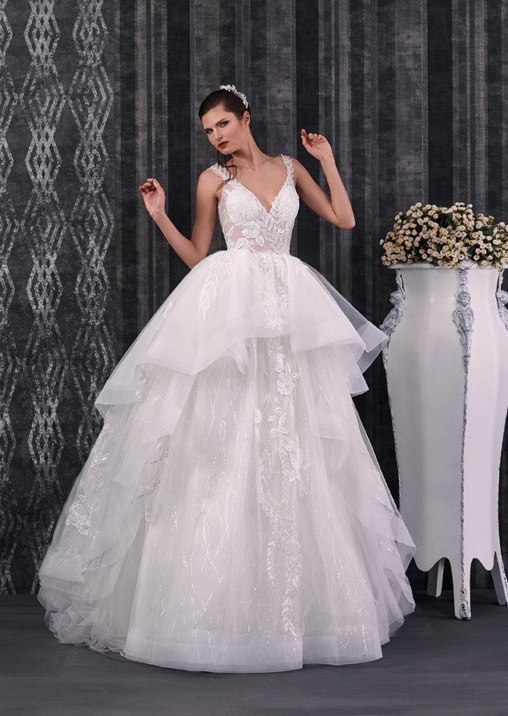 abito da sposa con balze